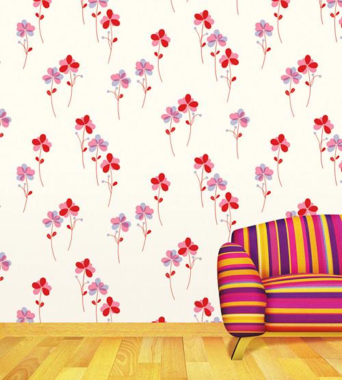 Vinyl Tapeten Verarbeiten : Tapete selbstklebend Dekofolie Bl?mchen Blumen Seideneffekt rot