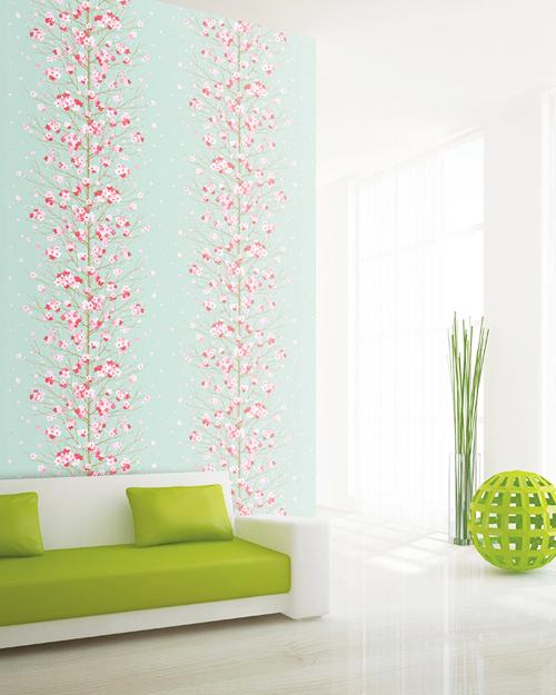 Tapete blumenstaude seideneffekt blau design muster for Wandtapete wohnzimmer