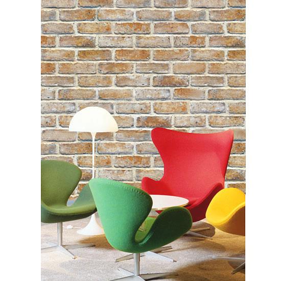 tapete selbstklebend dekofolie mauerstein ziegelstein tapeten deko ebay. Black Bedroom Furniture Sets. Home Design Ideas