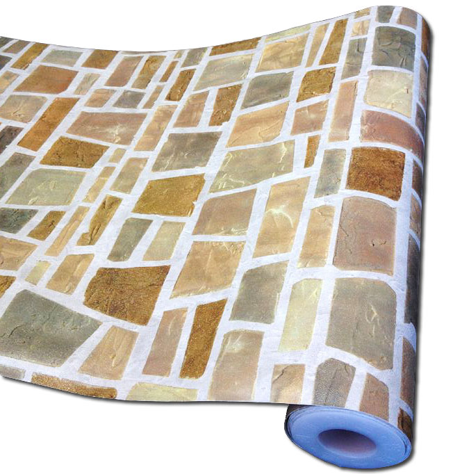 tapete selbstklebend dekofolie feldstein mosaik 50x100cm wanddeko abwischbar ebay. Black Bedroom Furniture Sets. Home Design Ideas