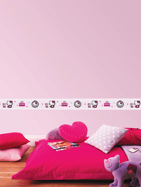 Vorhange Kinderzimmer Hello Kitty : hello kitty candy stripe packungsinhalt 1 rolle bordüre hello kitty