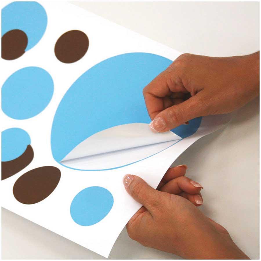 RoomMates Wandtattoo Wandsticker Wandaufkleber Wandbild Punkte Blau /& Braun