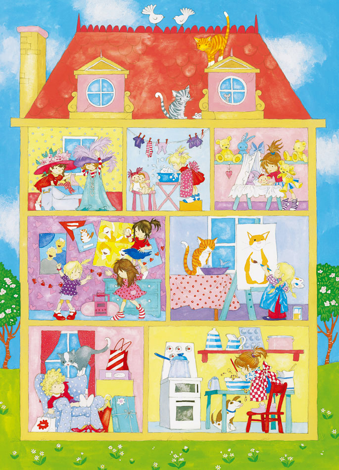 Wandbild Kinderzimmer Mädchenwelt-Fototapete 4 Teile