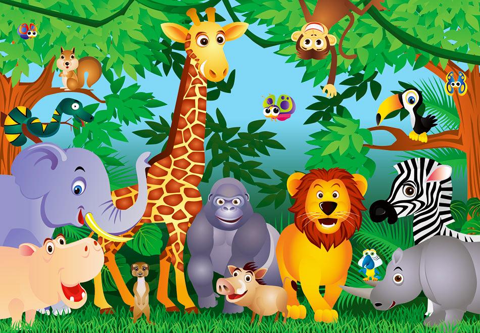 Fototapete kinderzimmer baum  Fototapete Kinderzimmer Dschungeltiere-Fototapete 8 Teile
