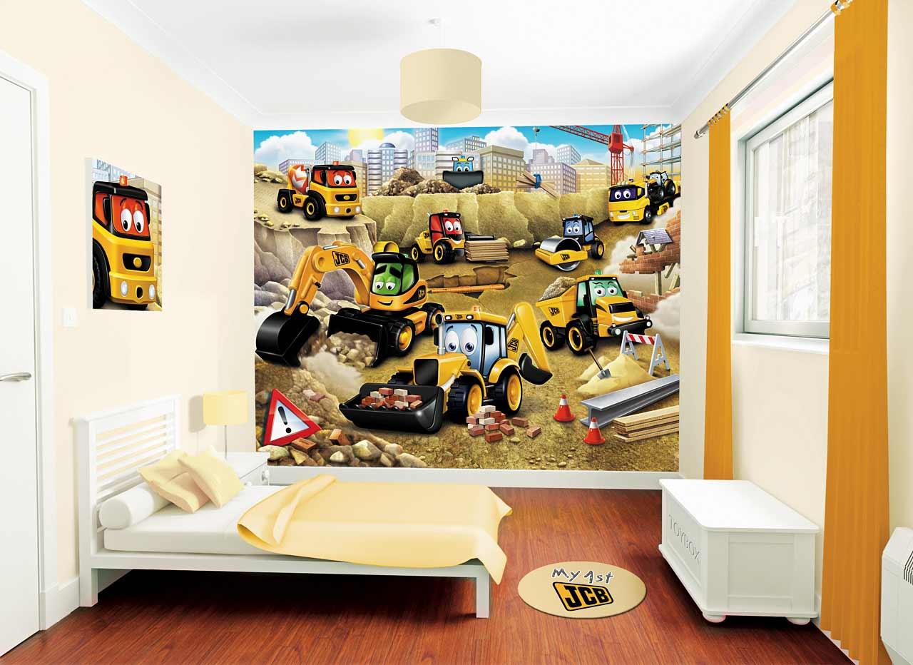 Walltastic Fototapete Kinderzimmer Baustelle My 1st JCB Baumeister Wanddeko Jungen 4 Haende