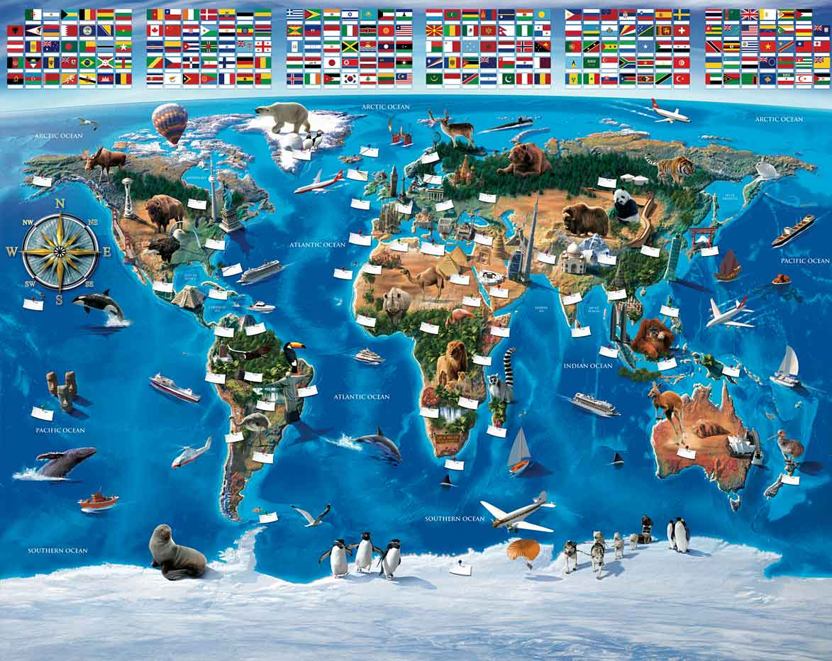Fototapete Kinderzimmer Wandbild Walltastic Weltkarte mit Flaggen ...