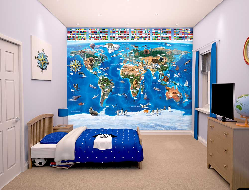 walltastic fototapete kinderzimmer wandbild weltkarte mit flaggen www 4. Black Bedroom Furniture Sets. Home Design Ideas
