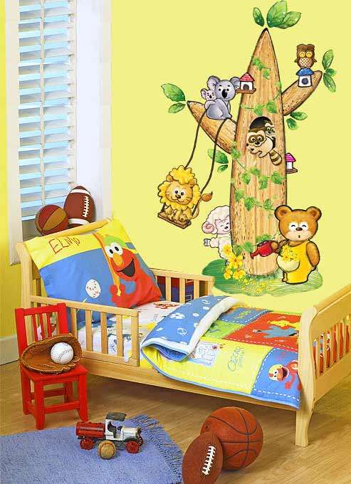 wandsticker fensterbild wandtattoo kinderzimmer tierbaum. Black Bedroom Furniture Sets. Home Design Ideas