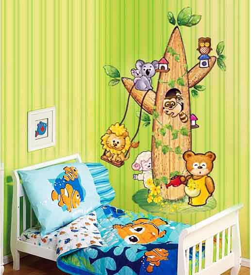 wandsticker wandtattoo kinderzimmer tierbaum www 4. Black Bedroom Furniture Sets. Home Design Ideas