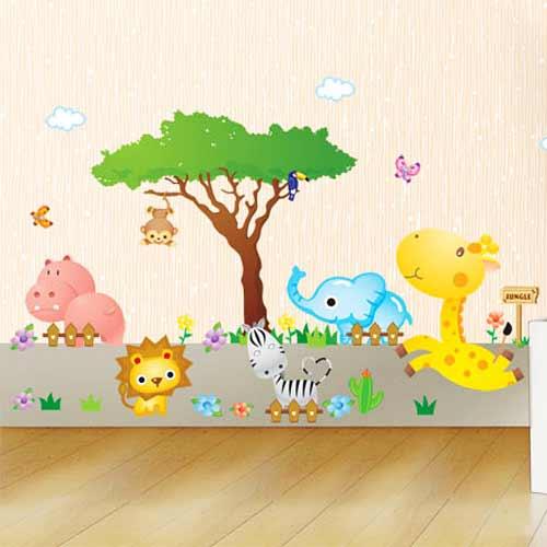 ... Wandaufkleber nachtleuchtend Dschungel Tiere im Wald WAndtattoo eBay