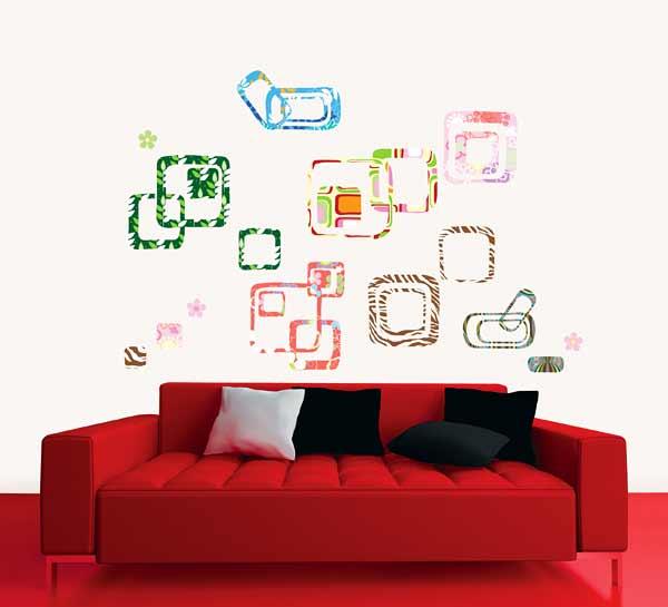 Wandsticker quadratische kunst wohnzimmer for Kunst wohnzimmer