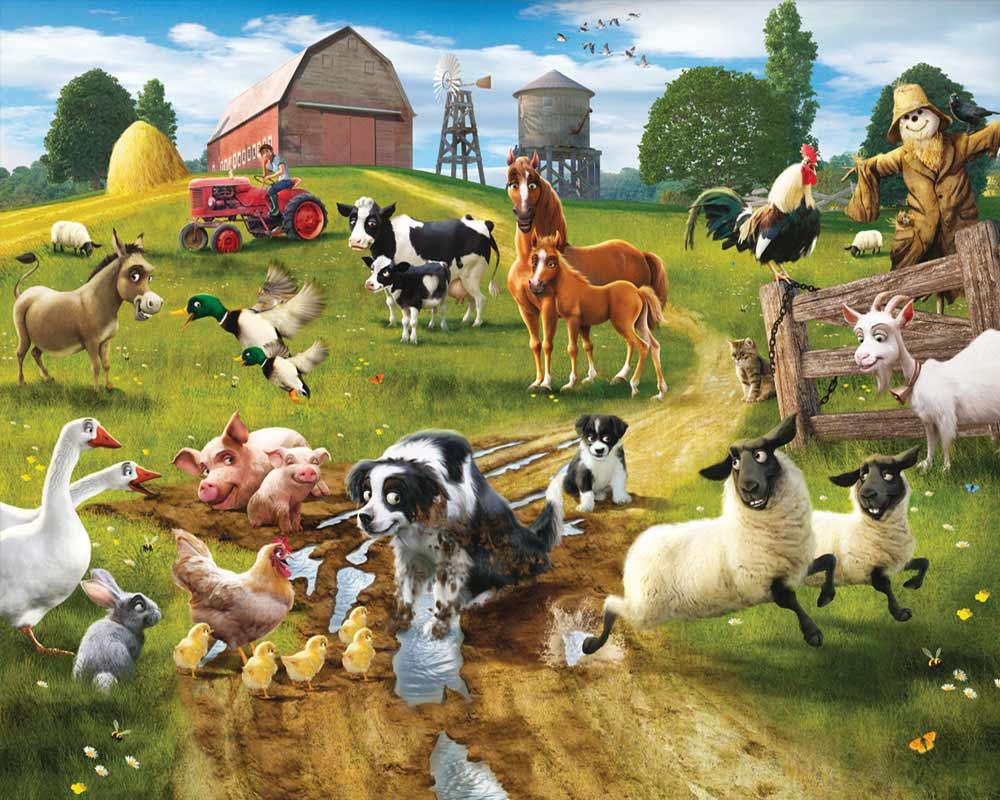 Fototapete kinderzimmer traktor  Walltastic Fototapete Kinderzimmer Wandbild Tiere Bauernhof Fun on ...