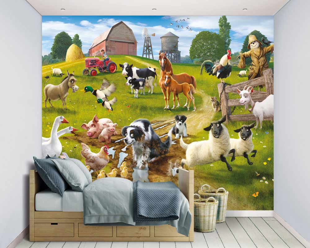 walltastic fototapete kinderzimmer wandbild tiere bauernhof fun on the farm www 4. Black Bedroom Furniture Sets. Home Design Ideas