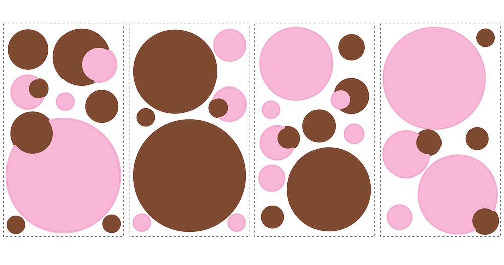 roommates wandsticker wandtattoo pink braune punkte kinderzimmer wanddeko ebay. Black Bedroom Furniture Sets. Home Design Ideas