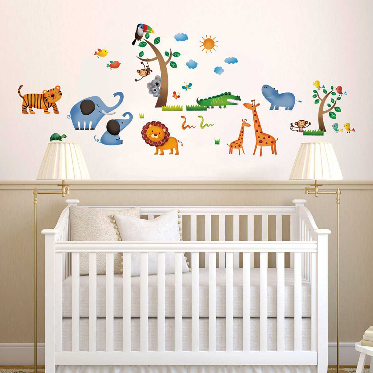 Wandsticker dschungeltiere safari wandsticker kinderzimmer for Wandsticker fur babyzimmer