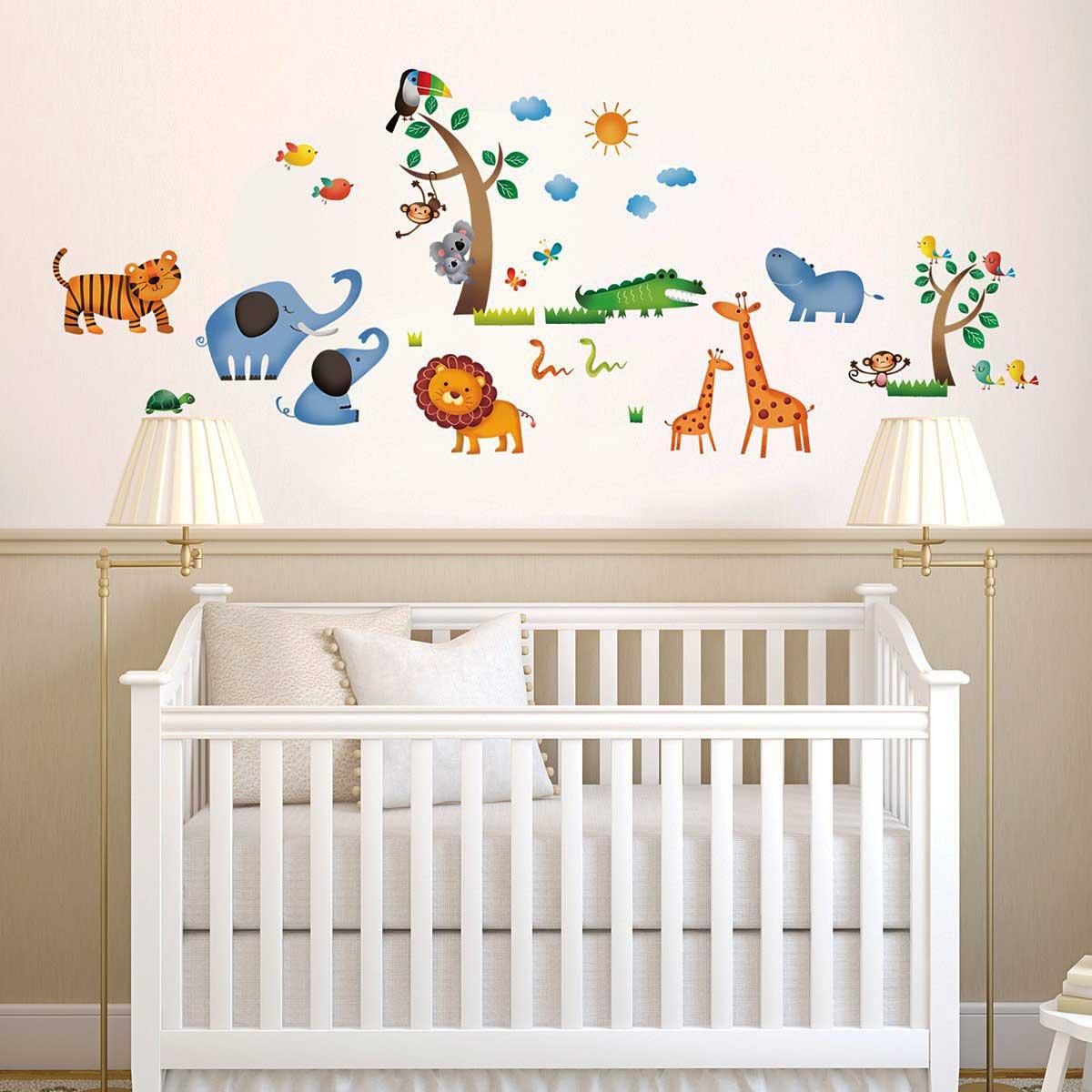 wandsticker dschungeltiere safari wandsticker kinderzimmer. Black Bedroom Furniture Sets. Home Design Ideas
