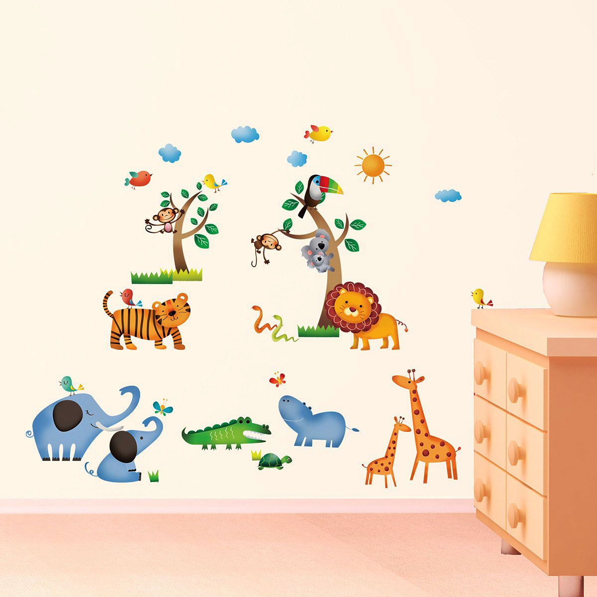 wandsticker wandpuzzle wandtattoo dschungel safari tiere www 4. Black Bedroom Furniture Sets. Home Design Ideas