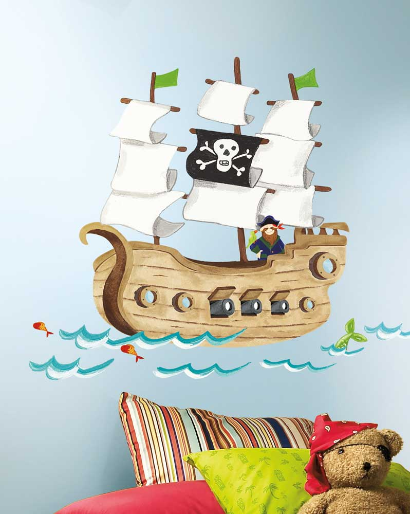 roommates wandsticker wandtattoo piratenschiff riesen wandbild www 4. Black Bedroom Furniture Sets. Home Design Ideas