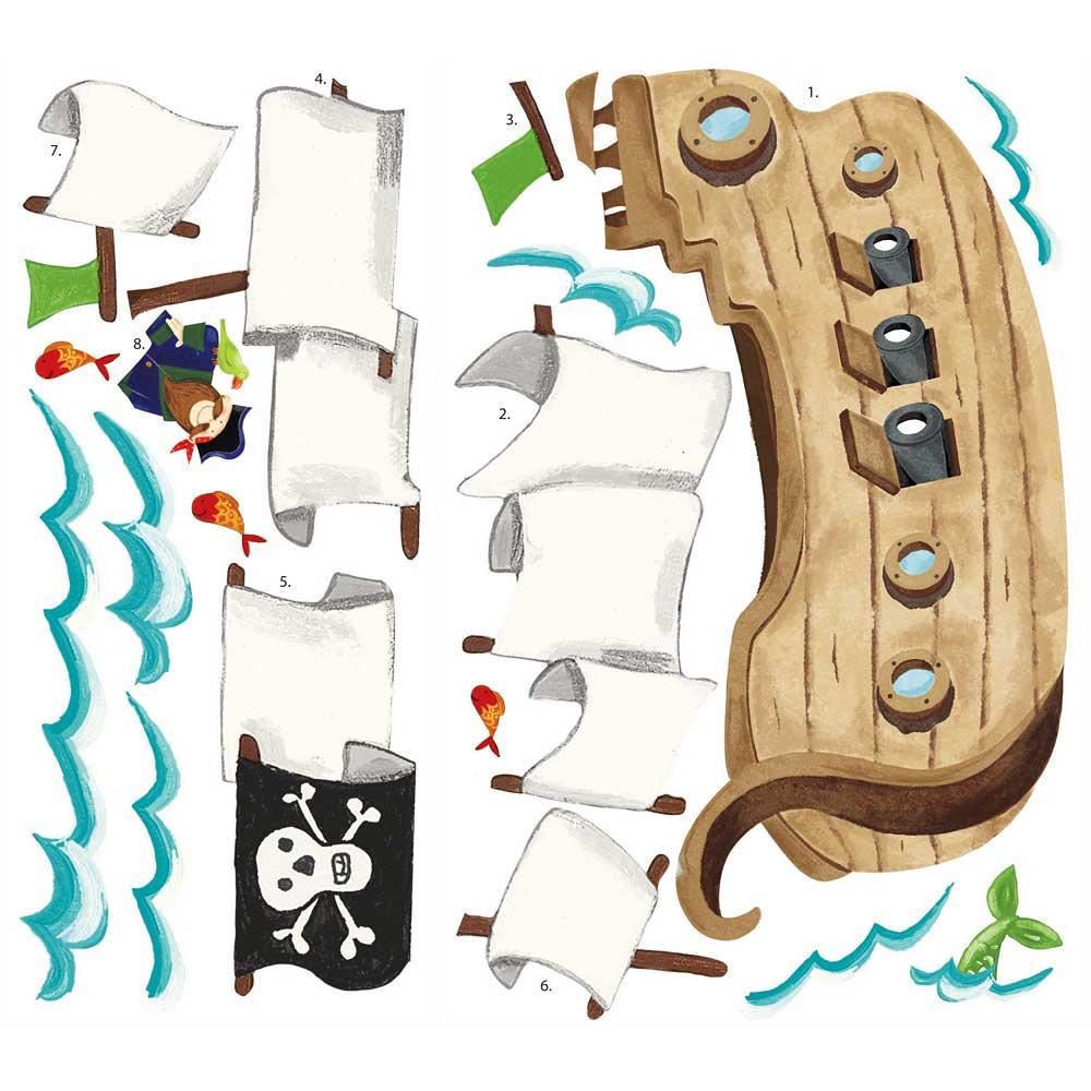 Roommates wandsticker wandtattoo piratenschiff riesen for Wandtattoo piratenschiff