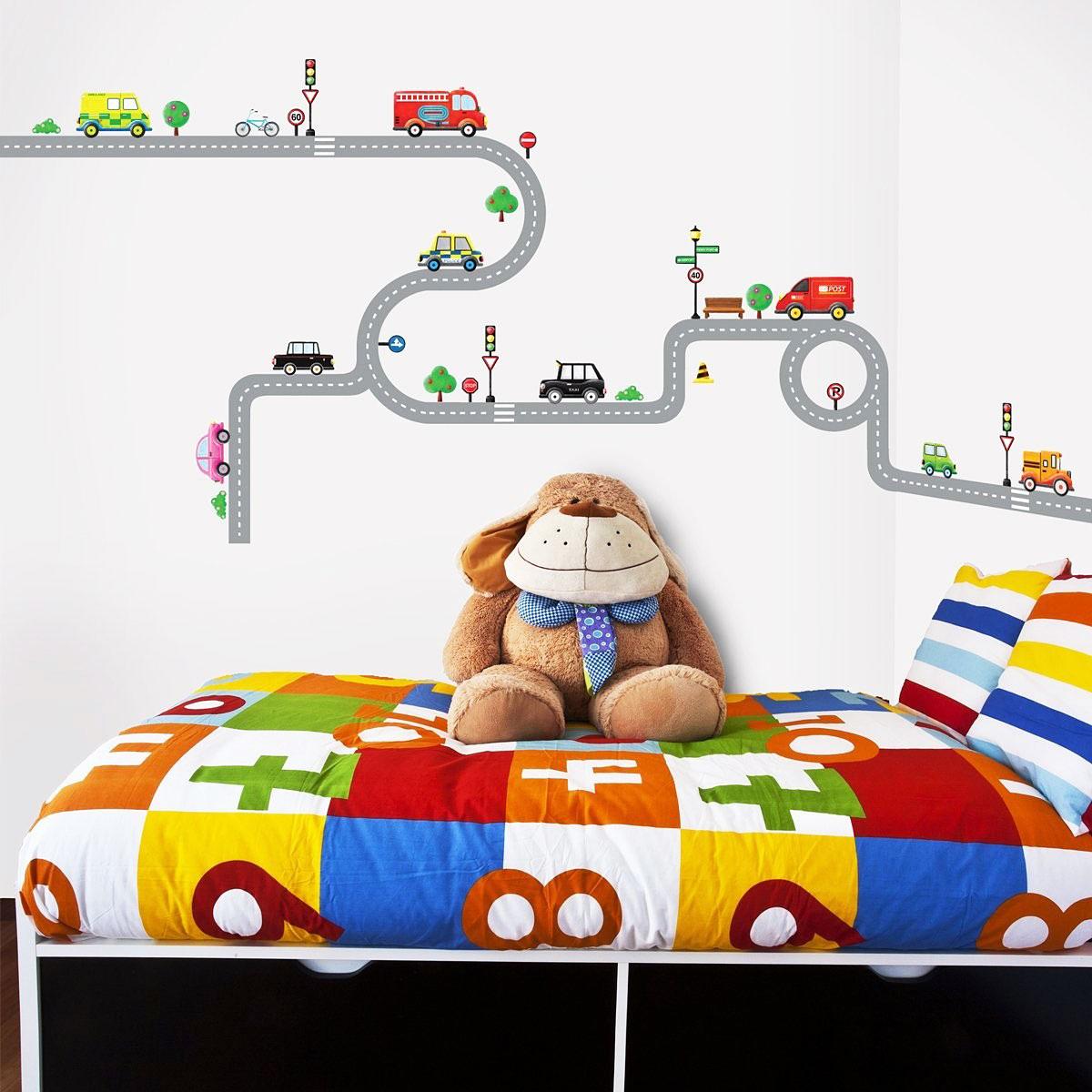 Kinderzimmer Tapeten Feuerwehr : Wanddekoration Wandsticker Wandpuzzle Wandaufkleber Autobahn Stra?en