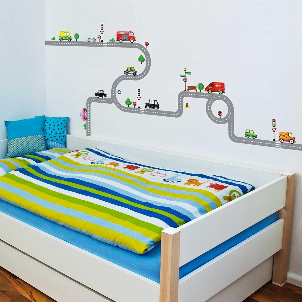 wandsticker wandpuzzle wandtattoo autobahn stra en autos. Black Bedroom Furniture Sets. Home Design Ideas