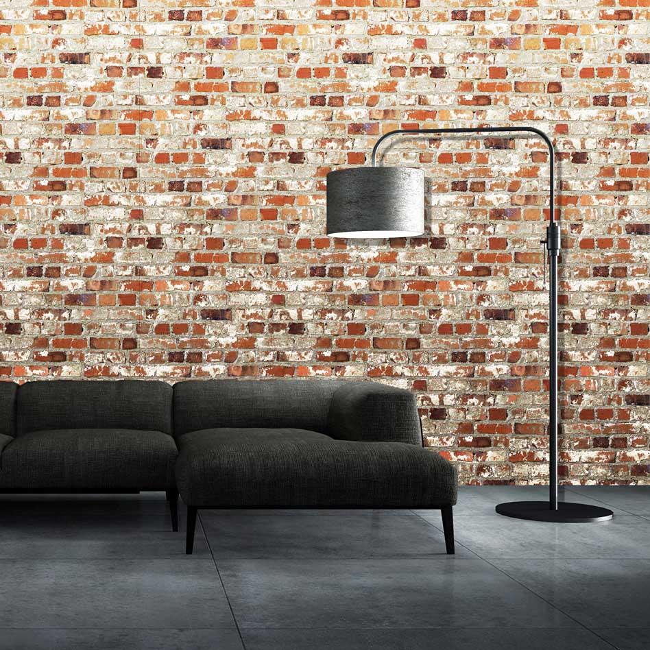 Muriva tapete rote steinmauer dachboden loft www 4 for Steinmauer tapete