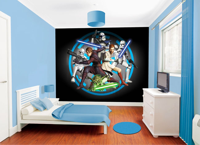 fotomurale stanza dei bambini star wars clone wars muro immagine anakin skywalker obi wan. Black Bedroom Furniture Sets. Home Design Ideas