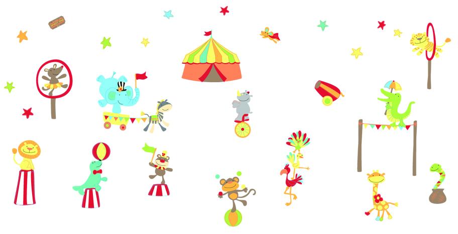 Funtosee wandsticker mr giggles zirkus wandsticker deko set for Zimmer deko zirkus