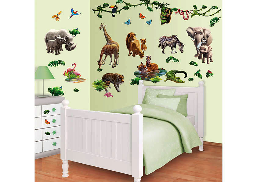 wandtattoo wandsticker kinderzimmer dschungel tiere afrika. Black Bedroom Furniture Sets. Home Design Ideas