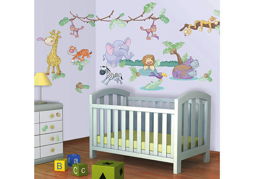 wandsticker kinderzimmer baby dschungel tiere safari giraffe affe zoo elefant ebay. Black Bedroom Furniture Sets. Home Design Ideas