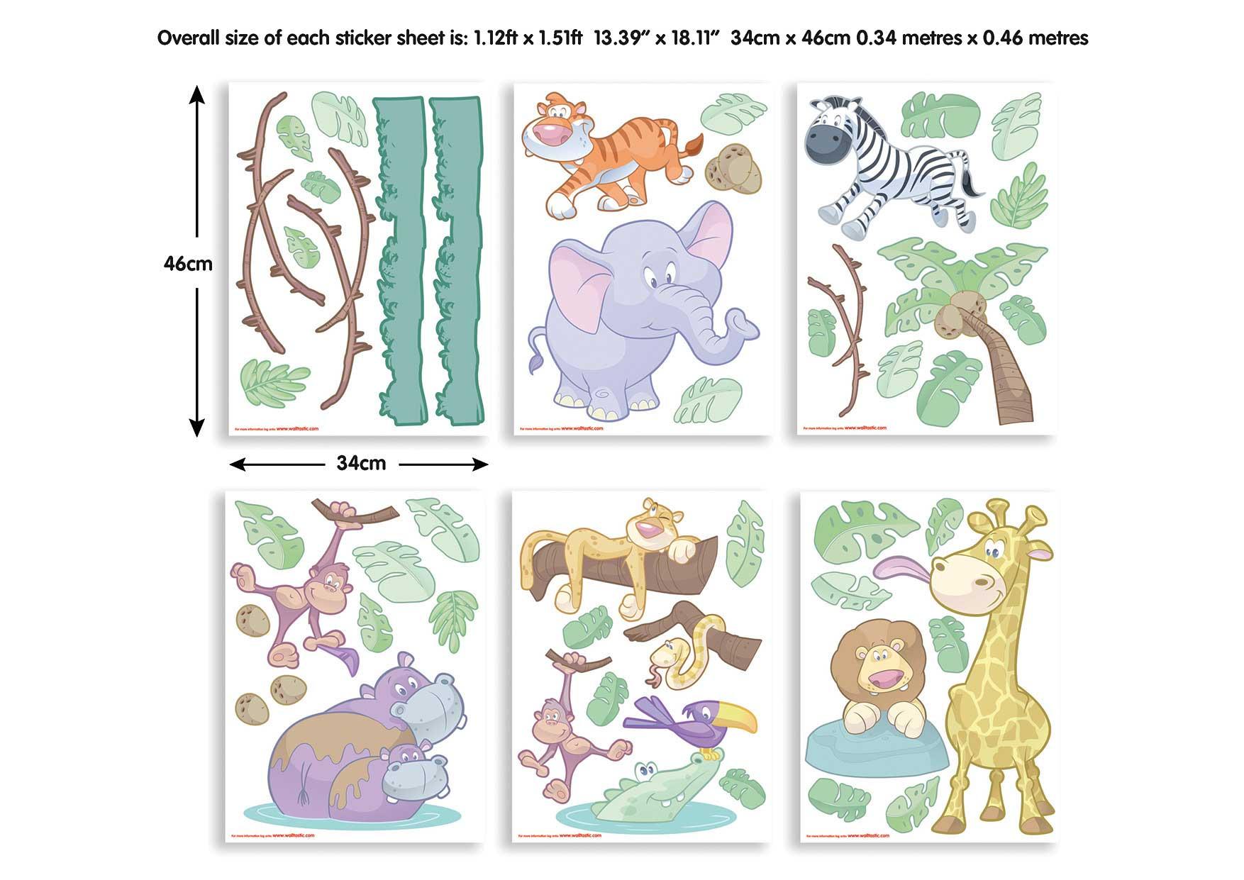 Wandsticker Kinderzimmer Baby Dschungel Tiere Safari