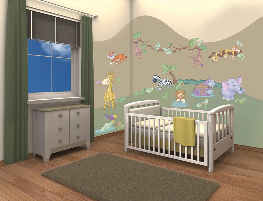 walltastic wandsticker wandtattoo kinderzimmer baby dschungel tiere safari www 4. Black Bedroom Furniture Sets. Home Design Ideas