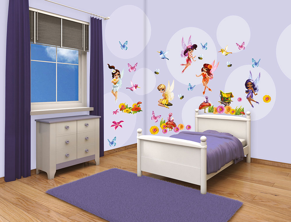 walltastic wandsticker kinderzimmer blumenelfen m dchen feen fairies www 4. Black Bedroom Furniture Sets. Home Design Ideas