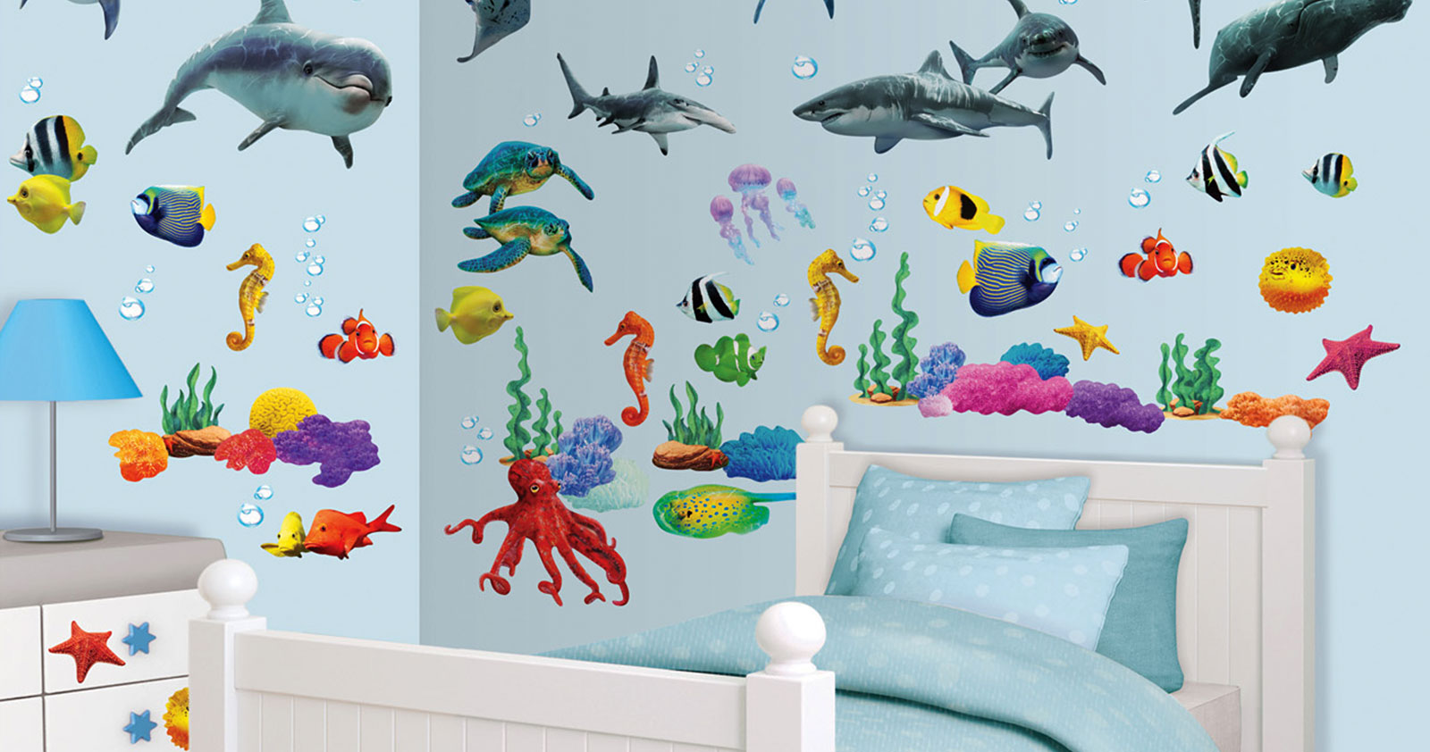 walltastic wandsticker wandtattoo set kinderzimmer fische. Black Bedroom Furniture Sets. Home Design Ideas