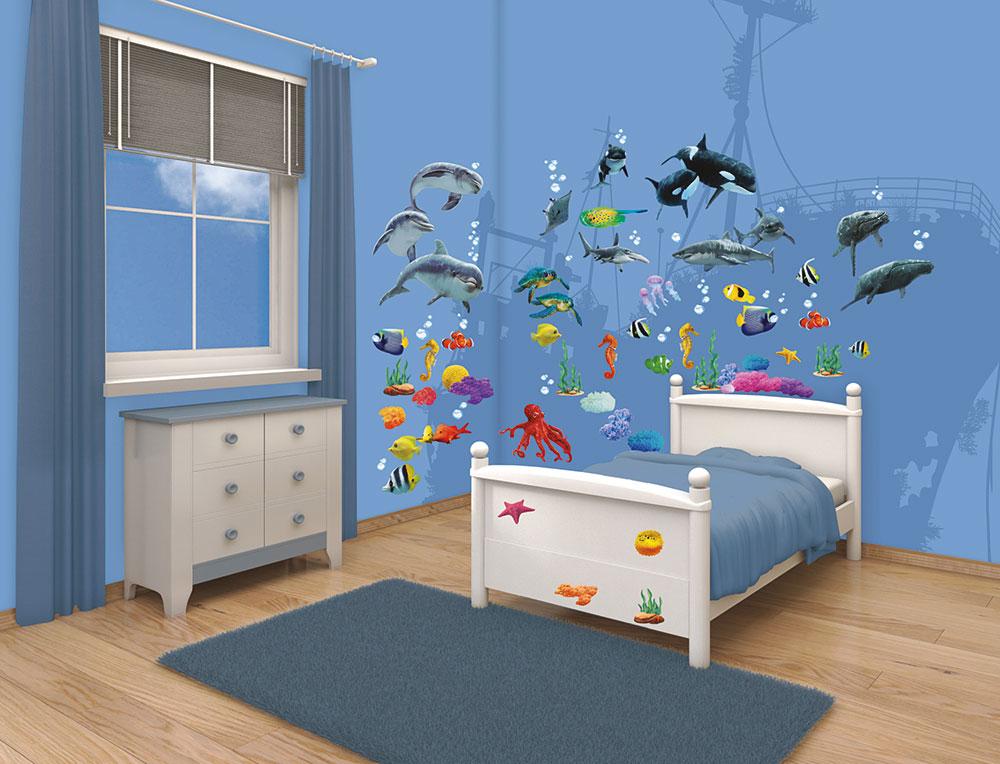walltastic wandsticker wandtattoo set kinderzimmer fische sea adventure unterwasserwelt www 4. Black Bedroom Furniture Sets. Home Design Ideas