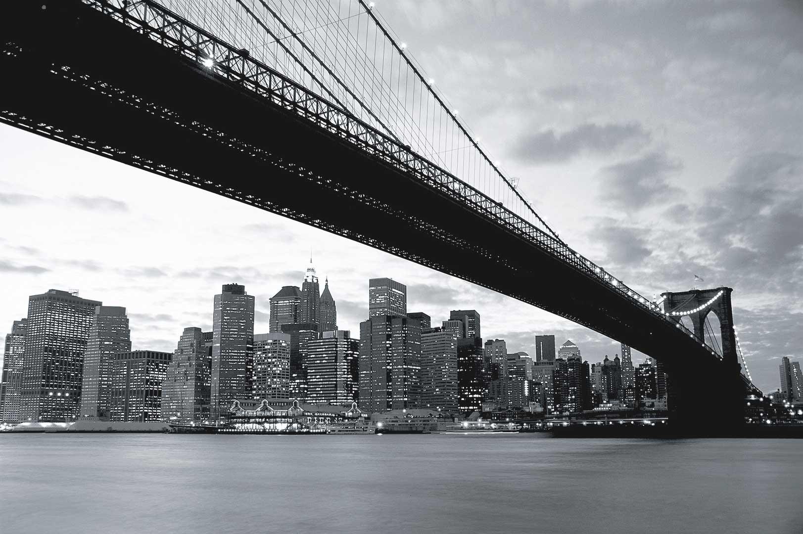 wandbild brooklyn bridge mit manhattan fototapete 4 teile. Black Bedroom Furniture Sets. Home Design Ideas