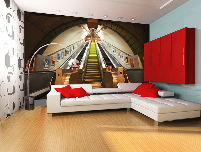 wandbild u bahn rolltreppe london fototapete 4 teile. Black Bedroom Furniture Sets. Home Design Ideas