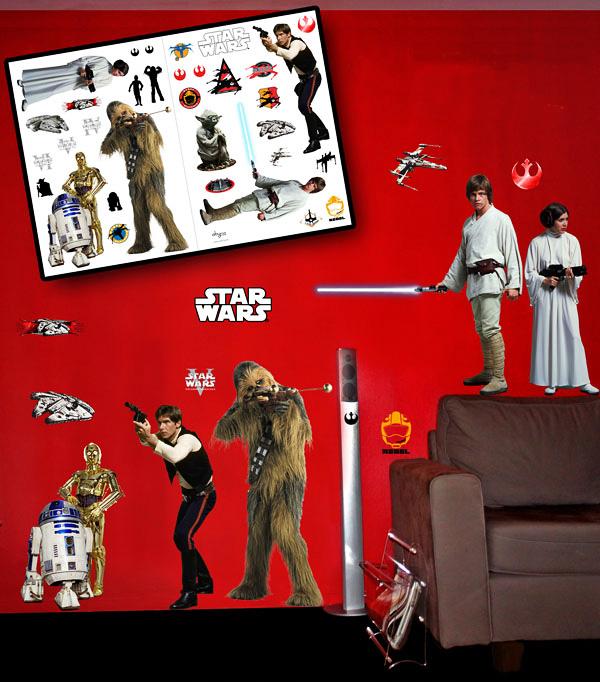 wandsticker star wars rebellion wandtattoo leia luke. Black Bedroom Furniture Sets. Home Design Ideas