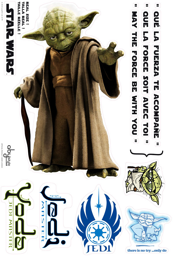 wandsticker star wars jedi meister yoda star wars. Black Bedroom Furniture Sets. Home Design Ideas