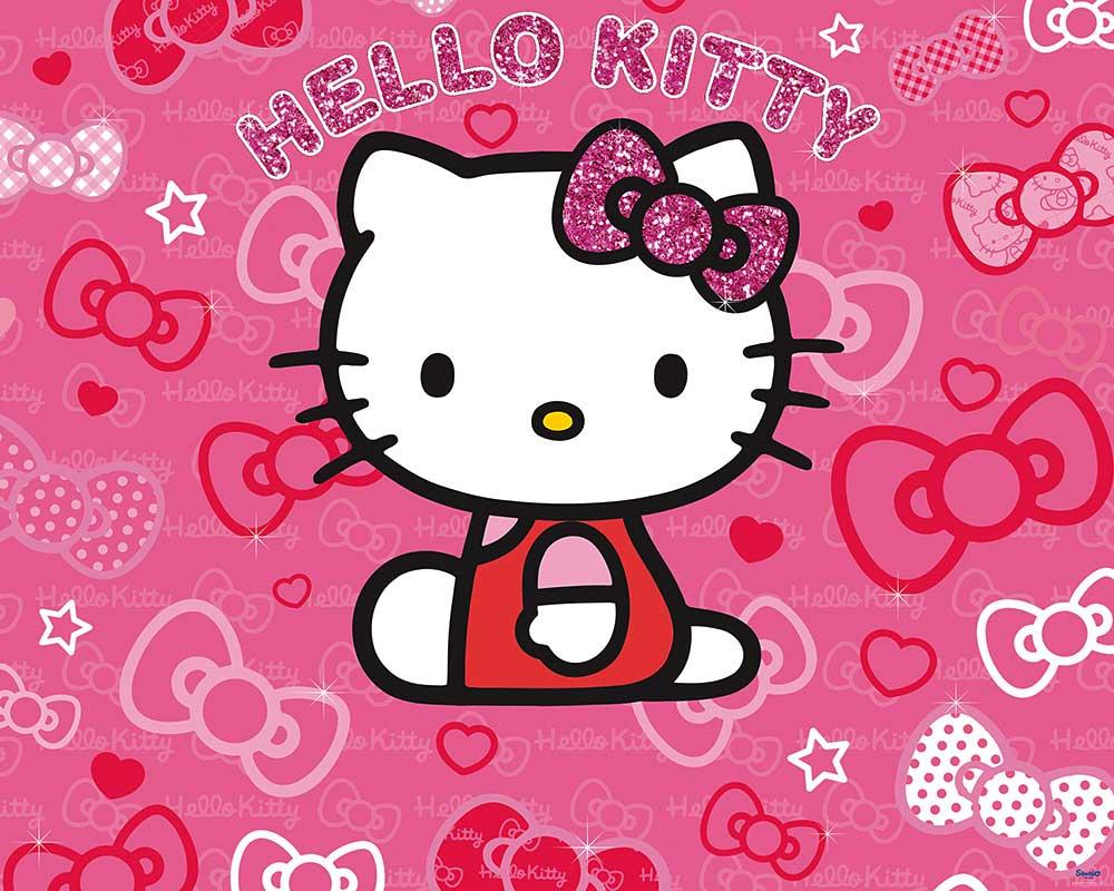 fototapete hello kitty kinderzimmer wandbild inkl. Black Bedroom Furniture Sets. Home Design Ideas
