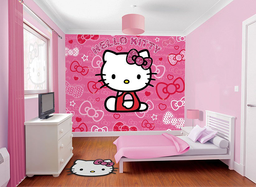 fototapete hello kitty kinderzimmer wandbild inkl tapetenkleister m dchen deko ebay. Black Bedroom Furniture Sets. Home Design Ideas