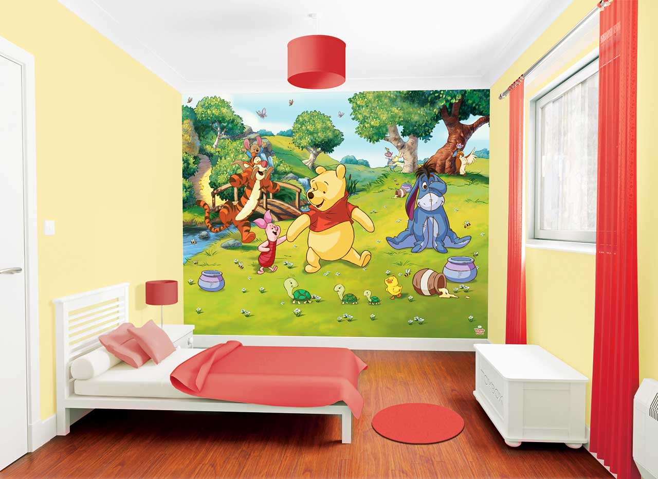fototapete kinderzimmer disney winnie the pooh wandbild inkl tapetenkleister ebay. Black Bedroom Furniture Sets. Home Design Ideas