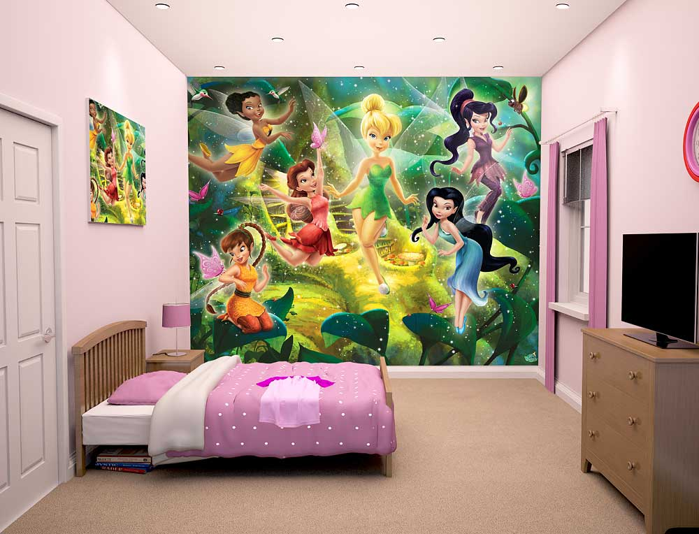 fototapete kinderzimmer disney fairies tinkerbell walltastic fototapete. Black Bedroom Furniture Sets. Home Design Ideas