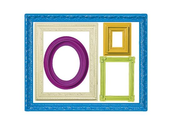 Wandsticker farbenfrohe bilderrahmen wohnzimmer for Bilderrahmen wohnzimmer