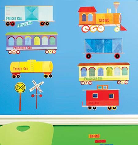 wandsticker eisenbahn waggons zug-kinderzimmer - Kinderzimmer Eisenbahn Deko