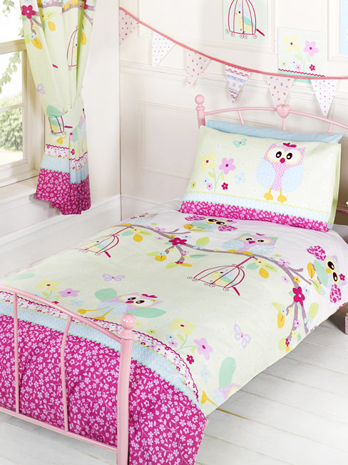 bettw sche eulen bettgarnitur eulenmotiv 135x200 50x75cm twit twoo m dchen eule ebay. Black Bedroom Furniture Sets. Home Design Ideas