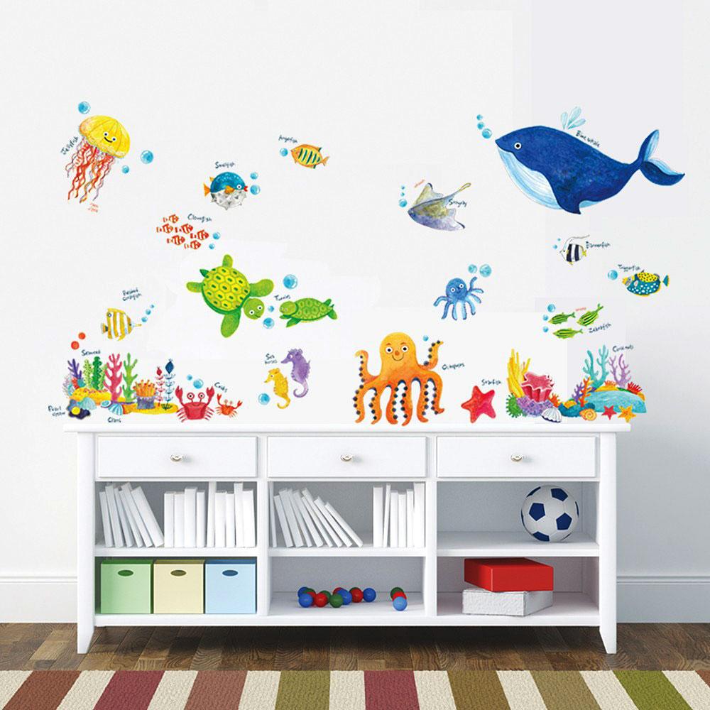 wandsticker wandtattoo meerestiere unterwasserwelt fische kinderzimmer wal ebay. Black Bedroom Furniture Sets. Home Design Ideas