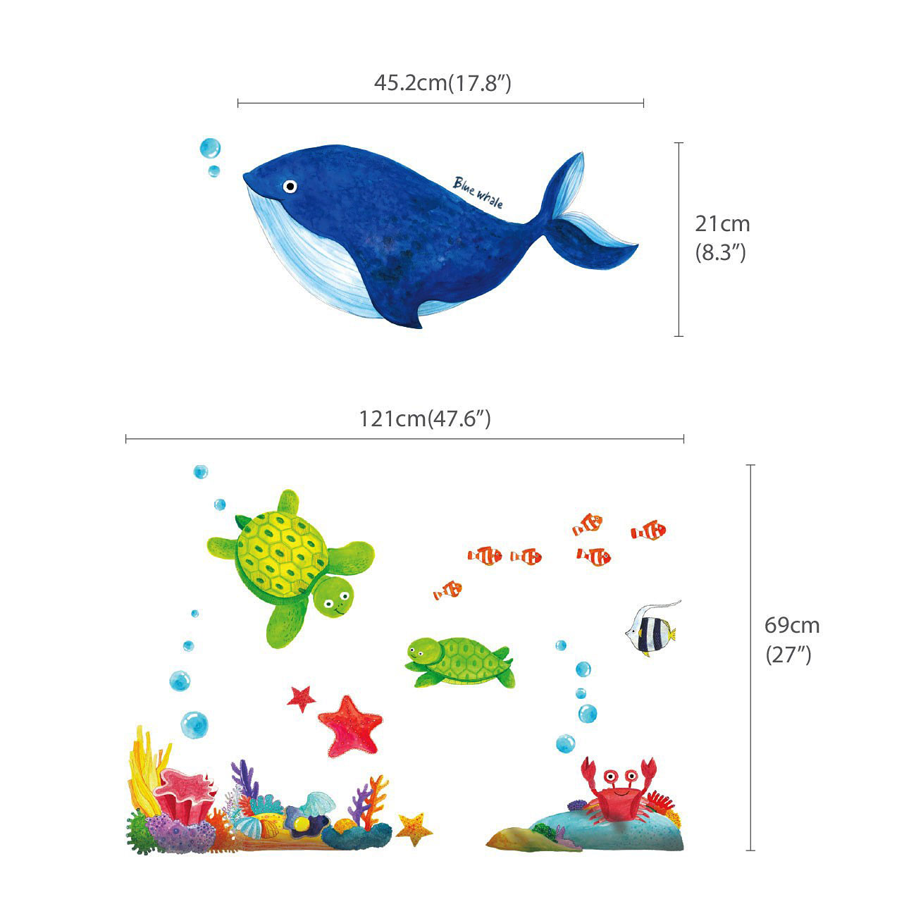 wandsticker meerestiere unterwasserwelt fische wandsticker kinderzimmer. Black Bedroom Furniture Sets. Home Design Ideas