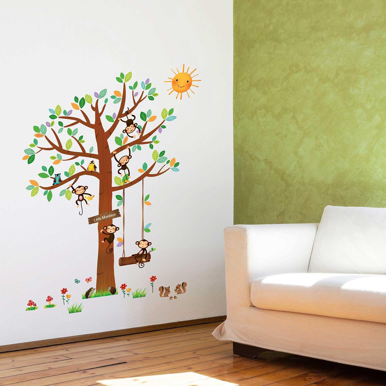 wandsticker 5 kleine affen auf dem baum wandsticker kinderzimmer. Black Bedroom Furniture Sets. Home Design Ideas