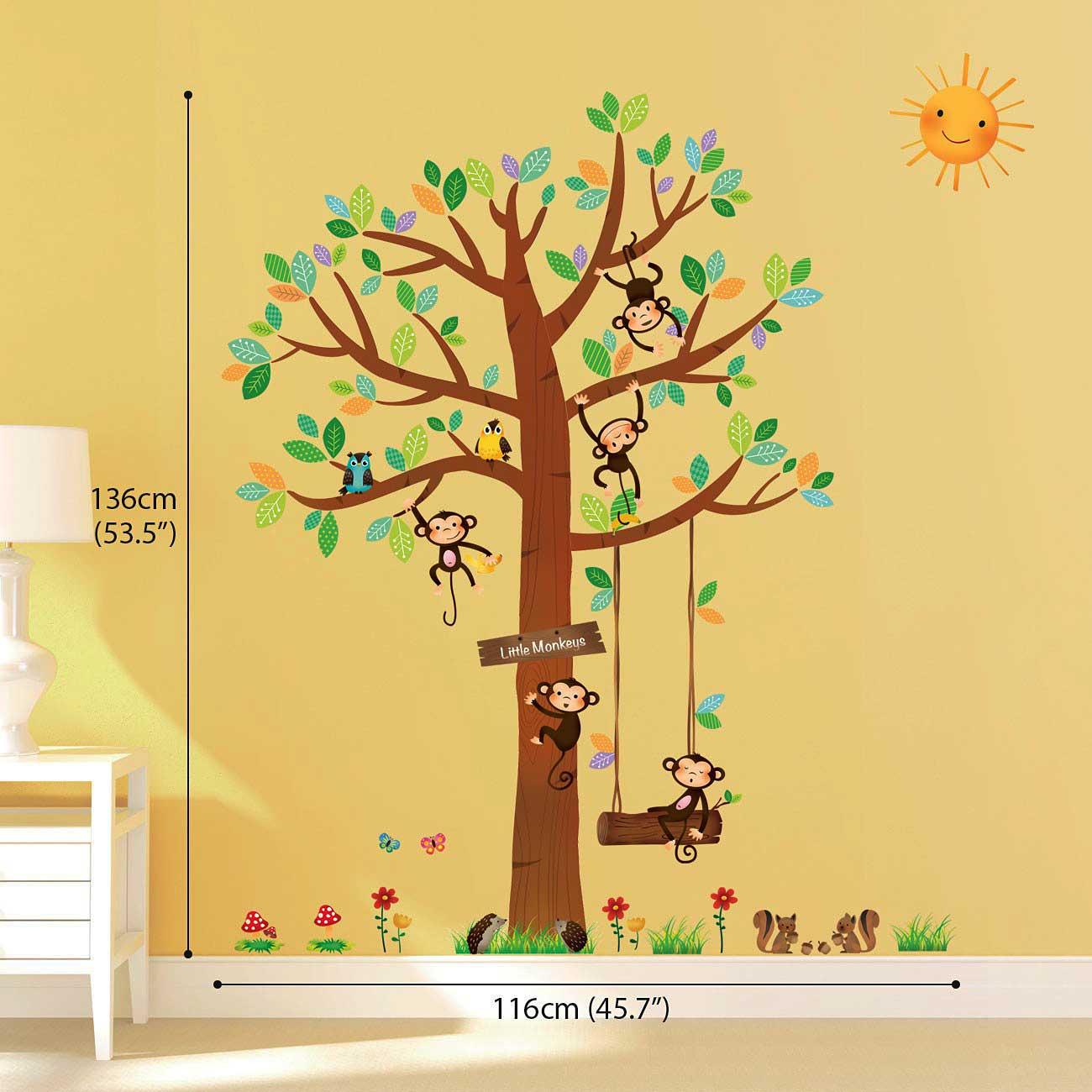wandsticker 5 kleine affen auf dem baum 151 cm rakuten. Black Bedroom Furniture Sets. Home Design Ideas